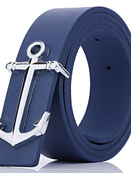 cheap -Men's Leather Waist Belt,Blue Brown White Black Camel Vintage Buckle