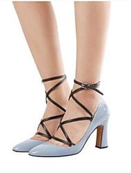 preiswerte -Damen Schuhe PU Herbst Komfort High Heels Blockabsatz Geschlossene Spitze für Normal Draussen Schwarz Fuchsia Hellblau