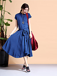 cheap -Women's Daily Vintage Loose Dress,Solid Round Neck Midi Short Sleeve Cotton Acrylic Winter High Waist Micro-elastic Opaque