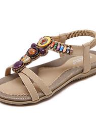 preiswerte -Damen Schuhe Kunstleder Frühling Sommer Modische Stiefel Komfort Neuheit Sandalen Flacher Absatz für Hochzeit Normal Schwarz Mandelfarben
