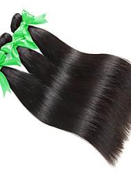 Недорогие -3 Связки Бразильские волосы Прямой Натуральные волосы Человека ткет Волосы Ткет человеческих волос Расширения человеческих волос Жен. / Прямой силуэт