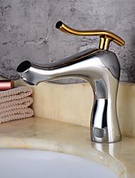 billige -Håndvasken vandhane - Udbredt Galvaniseret Centersat Enkelt håndtag Et Hul