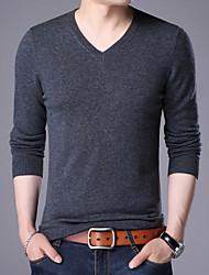 preiswerte -Herren Standard Pullover-Alltag Freizeit Solide V-Ausschnitt Langarm Polyester Alle Jahreszeiten Dünn Dehnbar