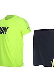 baratos -Homens Conjunto de Shorts e Camiseta de Corrida Manga Curta Secagem Rápida Shorts para Corrida Poliéster / Algodão Preto / Verde Floresta