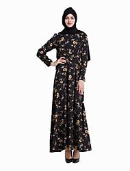 cheap -Fashion Jalabiya Kaftan Dress Abaya Arabian Dress Women's Festival / Holiday Halloween Costumes Black Printing
