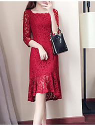cheap -Women's Going out Cotton Lace Dress - Solid Colored Artistic Style Classic Style