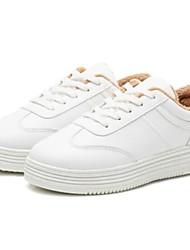 preiswerte -Damen Schuhe PU Herbst Winter Komfort Sneakers Flacher Absatz Geschlossene Spitze für Draussen Weiß Schwarz Braun Rosa