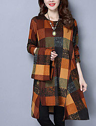 cheap -Women's Daily Vintage Loose Dress,Multi Color Round Neck Midi Long Sleeve Cotton Spring Mid Waist Stretchy Opaque