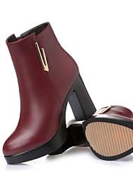 baratos -Mulheres Sapatos Pele Napa / Couro Ecológico Outono / Inverno Conforto Botas Salto Robusto Botas Curtas / Ankle Preto / Vinho