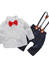 cheap -Baby Boys' Daily Polka Dot Clothing Set, Cotton Polyester Spring Simple Long Sleeves White
