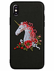 cheap -Case For Apple iPhone X iPhone 8 Frosted Pattern Back Cover Unicorn 3D Cartoon Soft PU Leather for iPhone X iPhone 8 Plus iPhone 8 iPhone