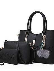 cheap -Women's Bags PU 3 Pcs Purse Set Zipper for Shopping Casual All Seasons Blue Black Red Blushing Pink Gray