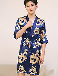 cheap -Men's Satin & Silk Robes Nightwear - Vintage Style Stylish, Floral