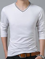 abordables -Hombre Casual Diario Otoño Camiseta,Escote en Pico A Rayas Mangas largas Algodón Medio