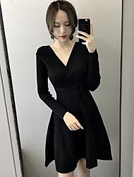 Недорогие -Жен. Хлопок А-силуэт Платье - Однотонный V-образный вырез Выше колена