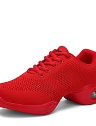 Недорогие -Танцевальные кроссовки Трикотаж Кроссовки На низком каблуке Персонализируемая Танцевальная обувь Белый / Черный / Красный