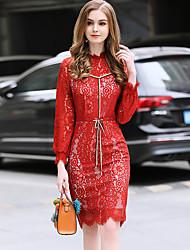 Недорогие -Жен. Облегающий силуэт Оболочка Кружева Платье - Сплошной цвет, Кружева Завышенная