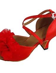 preiswerte -Damen Latin Satin Sandalen Maßgefertigter Absatz Rot Maßfertigung