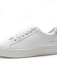 abordables -Femme Chaussures Polyuréthane Hiver Automne Confort Basket Talon Plat Bout rond pour Décontracté Blanc Noir Bleu Rose et blanc
