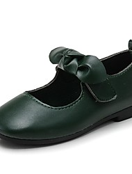 cheap -Girls' Shoes Leatherette Spring Fall Flower Girl Shoes Comfort Flats Bowknot Magic Tape for Outdoor Dress Black Brown Dark Green