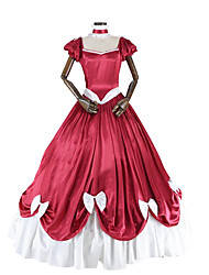 abordables -Victorien Rococo Costume Femme Adulte Robes Rouge/Blanc Vintage Cosplay Taffetas Manches Courtes Manche Gigot