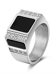 cheap -Men's Women's Band Rings Cubic Zirconia Metallic Vintage Stainless Steel Geometric Jewelry Wedding Carnival