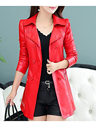 cheap -Women's Going out Street chic Spring Trench Coat,Solid Peter Pan Collar Long Sleeve Long PU