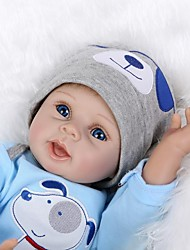 cheap -NPK DOLL Reborn Doll Baby 22 inch Silicone / Vinyl - lifelike, Hand Applied Eyelashes, Artificial Implantation Blue Eyes Kid's Unisex Gift