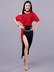 economico -Danza del ventre Completi Per donna Addestramento Prestazioni Modal Maglia Con spacco Mezza manica Cadente Gonne Top Pantaloncini