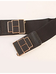 cheap -Women's Leather Wide Belt,Black Vintage Casual