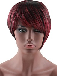economico -Parrucche sintetiche Liscio Taglio medio corto / Taglio scalato Capelli sintetici Rosso / Nero Parrucca Per donna Senza tappo