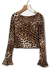 preiswerte -Damen Leopard Schachbrett Einfach Sexy Alltag T-shirt,Bateau Frühling Herbst Langärmelige Baumwolle