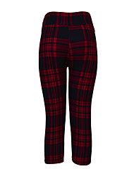 cheap -Women's Polyester Thin Print Legging,Grid/Plaid Patterns Red
