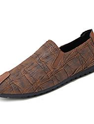 baratos -Homens sapatos Couro Ecológico Primavera Outono Mocassim Mocassins e Slip-Ons para Casual Preto Marron