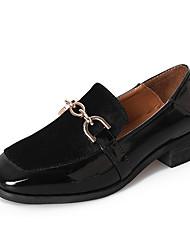 Недорогие -Жен. Обувь Полиуретан Весна Осень Однотонный Мокасины и Свитер работа На низком каблуке для Повседневные Черный Хаки