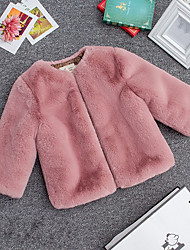 cheap -Girls' Solid Blouse,Acrylic Winter Long Sleeve Simple Light gray Blushing Pink Red Black White