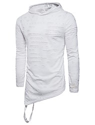 cheap -Men's Daily Sports Casual Street chic Spring T-shirt,Solid Hooded Long Sleeve Cotton Medium