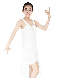 baratos -Balé Vestidos Mulheres Espetáculo Elastano / Elástico / Grade Cruzado / Lantejoula Sem Manga Natural Vestido / Decoração de Cabelo
