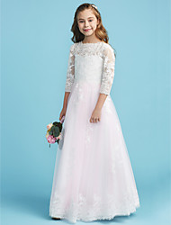 A Line / Princess Crew Neck Floor Length Lace Junior Bridesmaid Dress With  Lace By LAN TING BRIDE®