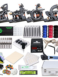 cheap -Tattoo Machine Professional Tattoo Kit 4 cast iron machine liner & shader High Quality LCD power supply 2 x stainless steel grip 50