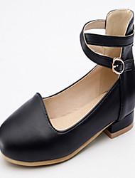 abordables -Femme Chaussures Similicuir Printemps Automne Nouveauté Confort Ballerines Talon Plat Bout rond Boucle pour Habillé Blanc Noir Rose