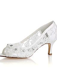 abordables -Femme Chaussures Satin Elastique Printemps Eté Escarpin Basique Chaussures de mariage Talon Aiguille Bout ouvert Cristal Applique pour