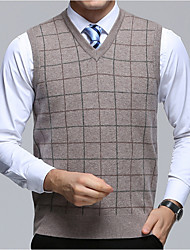 cheap -Men's Daily Wear Regular Pullover,Striped V Neck Sleeveless Wool Fall/Autumn Thick Stretchy