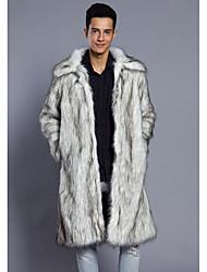 cheap -Men's Long Faux Fur Fur Coat - Leopard, Fur Trim / Long Sleeve