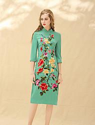 preiswerte -Damen Hülle Kleid-Party Festtage Retro Chinoiserie Solide Blumen Ständer Midi Halbarm Leinen Frühling Sommer Mittlere Hüfthöhe
