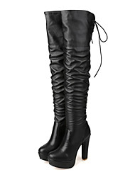 cheap -Women's Shoes PU Winter Fall Comfort Novelty Fashion Boots Boots High Heel Pointed Toe Round Toe Over The Knee Boots for Office & Career