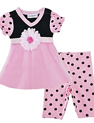cheap -Baby Girls' Daily Floral Clothing Set, Cotton Summer Cute Active Short Sleeve Blushing Pink
