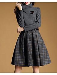 cheap -Women's Sheath Dress - Solid Striped High Waist Turtleneck