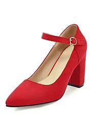 Недорогие -Жен. Обувь Дерматин Весна Осень Удобная обувь Обувь на каблуках На толстом каблуке Заостренный носок Пряжки для Для праздника Для