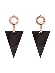 cheap -Women's Stainless Steel Drop Earrings With Gift Box - Metallic Korean Rose Gold Triangle Earrings For Daily